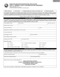 "State Form 9977 ""Radiation Machine Registration Application"" - Indiana"