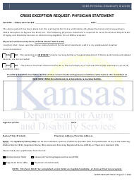 """Crisis Exception Request: Physician Statement"" - Kansas"