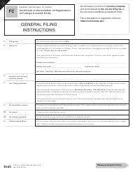 """Form FC """"Certificate of Cancellation of Registration of Foreign Covered Entity"""" - Kansas"""