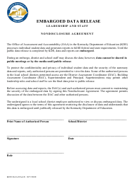 """""""Embargoed Data Release - Leadership and Staff - Nondisclosure Agreement"""" - Kentucky"""