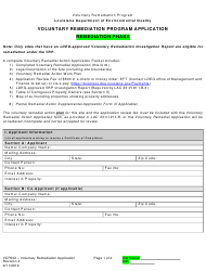 "Form VCP002 ""Voluntary Remediation Program Application - Remediation Phase"" - Louisiana"