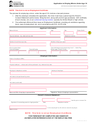"""Form PR1021 """"Application to Employ Minors Under Age 18"""" - Louisiana"""