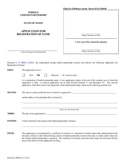 Form MLPA-2  Printable Pdf