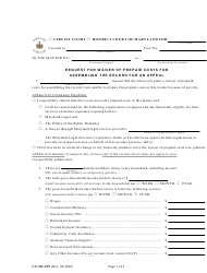 """Form CC-DC-091 """"Request for Waiver of Prepaid Costs for Assembling the Record for an Appeal"""" - Maryland"""