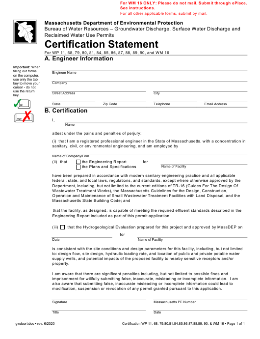 """""""Certification Statement for Groundwater Discharge, Surface Water Discharge & Reclaimed Water Use Permits"""" - Massachusetts Download Pdf"""