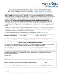 """Diagnosis & Remediation of Reading Course Verification Form"" - Michigan"