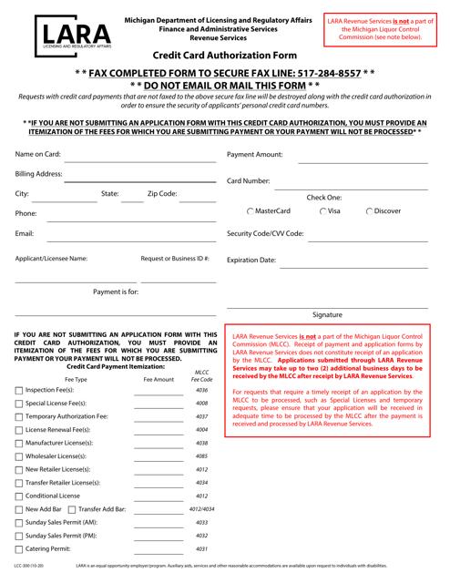 Form LCC-300 Printable Pdf