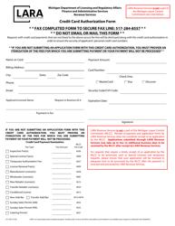 "Form LCC-300 ""Credit Card Authorization Form"" - Michigan"