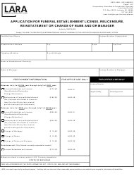 """Form CSCL/LMS-020 """"Application for Funeral Establishment License, Relicensure, Reinstatement or Change of Name and/or Manager"""" - Michigan"""