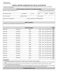 "Form RI-060A ""Federal Firearm Licensee Multiple Pistol Sales Record"" - Michigan"