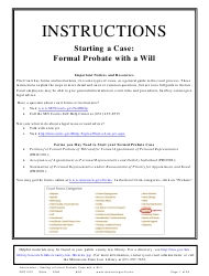 """Form PRO1201 """"Instructions - Starting a Case: Formal Probate With a Will"""" - Minnesota"""