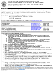 """Form MO500-2457 """"Application for Approval of Career Education Programs Secondary/Adult Only"""" - Missouri"""