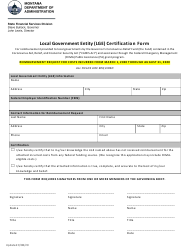 """Local Government Entity (Lge) Certification Form"" - Montana"