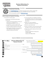 """Form MW-1 """"Montana Withholding Tax Payment Voucher"""" - Montana"""