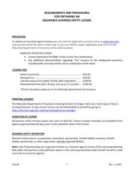 """Insurance Business Entity License Application"" - Nebraska"