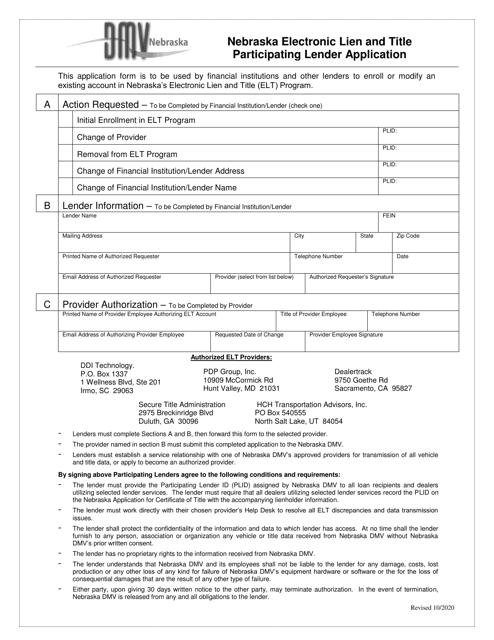 """""""Nebraska Electronic Lien and Title Participating Lender Application"""" - Nebraska Download Pdf"""