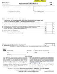"""Form 28 """"Nebraska Litter Fee Return"""" - Nebraska"""