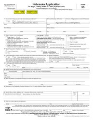 """Form 50 """"Nebraska Application for Bingo, Lottery, Raffle, or Lottery by Pickle Card"""" - Nebraska"""