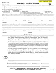 "Form 59 ""Nebraska Cigarette Tax Bond"" - Nebraska"