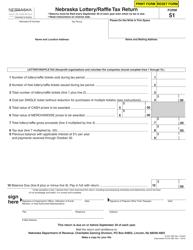 """Form 51 """"Nebraska Lottery/Raffle Tax Return"""" - Nebraska"""