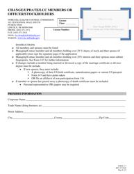 """Form 117 """"Change/Update/Lcc Members or Officer/Stockholders"""" - Nebraska"""