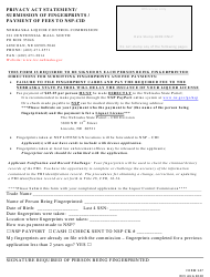 """Form 147 """"Privacy Act Statement / Submission of Fingerprints / Payment of Fees to Nsp-Cid"""" - Nebraska"""