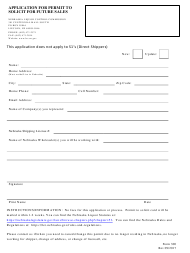 """Form 300 """"Application for Permit to Solicit for Future Sales"""" - Nebraska"""