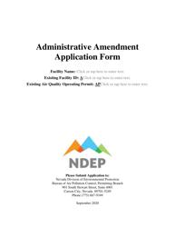 """Administrative Amendment Application Form"" - Nevada"