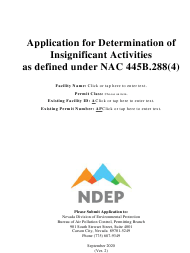"""""""Application for Determination of Insignificant Activities as Defined Under Nac 445b.288(4)"""" - Nevada"""