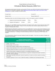 "Form FA-25 ""Orthodontic Medical Necessity (Omn) Form"" - Nevada"