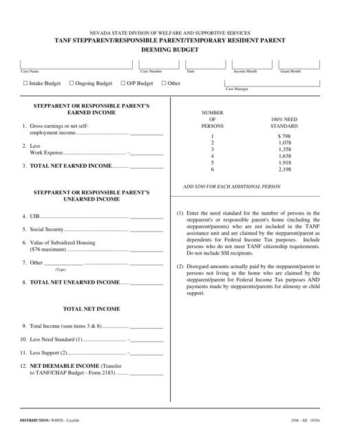 Form 2596-EE Printable Pdf