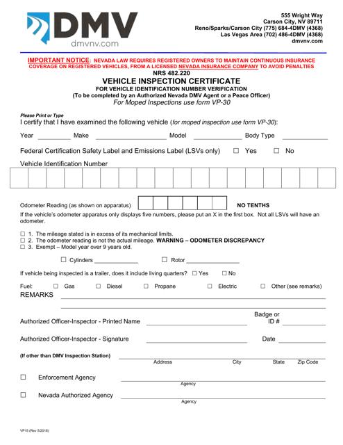 Form VP15  Printable Pdf