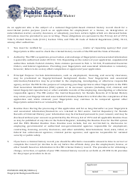 "Form 0505RCCD-003 ""Fingerprint Background Waiver"" - Nevada"
