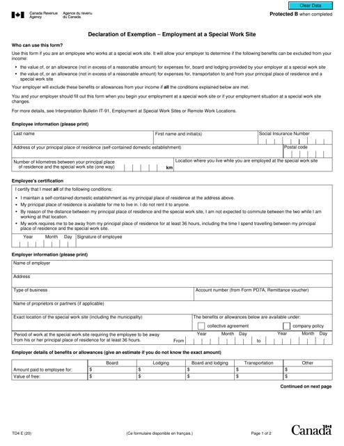 Form TD4 Printable Pdf