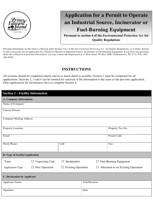 """Application for a Permit to Operate an Industrial Source, Incinerator or Fuel-Burning Equipment"" - Prince Edward Island, Canada Download Pdf"