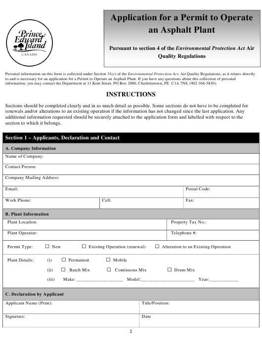 """""""Application for a Permit to Operate an Asphalt Plant"""" - Prince Edward Island, Canada Download Pdf"""