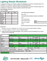 "Form 18EG15-49537 ""Lighting Rebate Worksheet"" - Prince Edward Island, Canada"