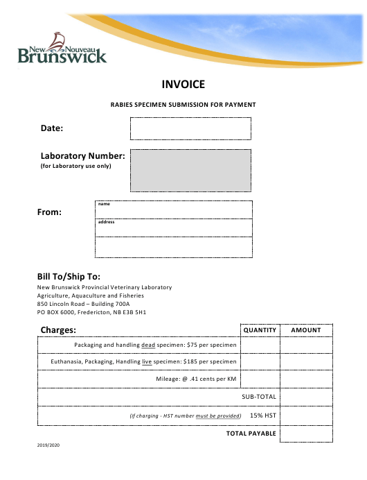 """""""Rabies Specimen Submission for Payment"""" - New Brunswick, Canada Download Pdf"""
