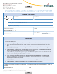 """Form 9756 """"Application for Special Assistance (Funding) for Infertility Treatment"""" - New Brunswick, Canada"""