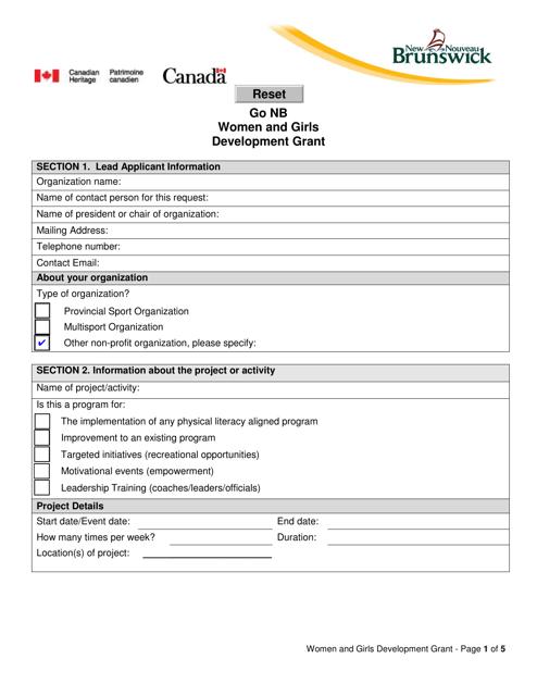 """Go Nb Women and Girls Development Grant Application Form"" - New Brunswick, Canada Download Pdf"