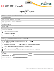 """""""Go Nb Person With a Disability Development Grant Application Form"""" - New Brunswick, Canada"""