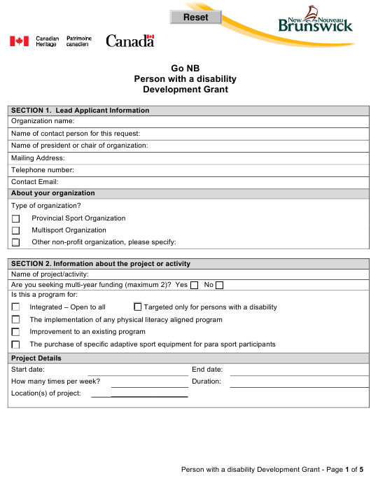 """""""Go Nb Person With a Disability Development Grant Application Form"""" - New Brunswick, Canada Download Pdf"""