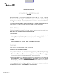 """Form SJ-604A """"Application for a Restricted Licence"""" - Quebec, Canada"""