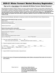 """Winter Farmers' Market Directory Registration"" - New Hampshire, 2021"