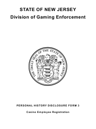 """Form 1 (Personal History Disclosure Form 3) """"Casino Employee Registration"""" - New Jersey"""