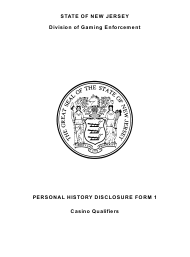 """Form 25 (Personal History Disclosure Form 1) """"Casino Qualifiers"""" - New Jersey"""
