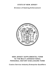 """Form 33 """"New Jersey Supplemental Form to the Multi-Jurisdictional Personal History Disclosure Form - Casino Service Industry Enterprise Qualifiers"""" - New Jersey"""