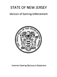 """Form 28 (45) """"Internet Gaming Disclosure Statement Form"""" - New Jersey"""