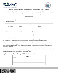 "Form OS/SS-54 ""Auto Title Lien Release Form for Those With No Lien Release in Njmvc's System"" - New Jersey"