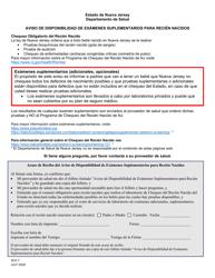 """Formulario SCH-7 """"Aviso De Disponibilidad De Examenes Suplementarios Para Recien Nacidos"""" - New Jersey (Spanish)"""